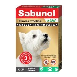 Sabunol - obroża przeciw pchłom i kleszczom - dla psów 50 cm - różowa w łapki