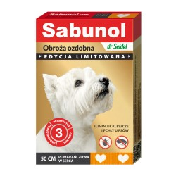 Sabunol - obroża przeciw pchłom i kleszczom - dla psów 50 cm - fioletowa w kropki
