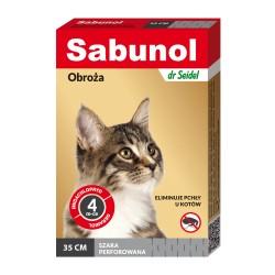 Sabunol - obroża przeciw pchłom i kleszczom - dla kotów 35 cm - czerwona perforowana