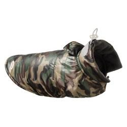Wodoodporna kurtka puchowa dla psa - kolor moro zielono-brązowy